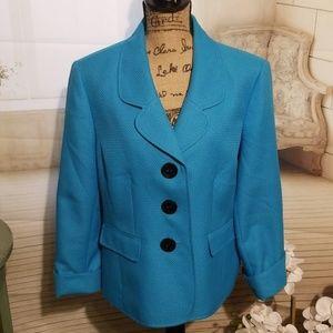 KASPER Separates Aqua Blue Blazer/Jacket
